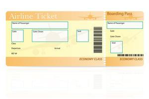 illustration vectorielle de billet d'avion classe économique