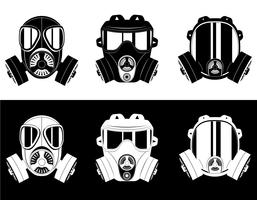 icônes vectorielles masque à gaz noir et blanc illustration