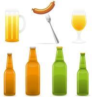 illustration vectorielle de bière bouteille verre et saucisse