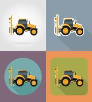 tracteur plat icônes vector illustration