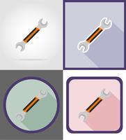 réparation clé et outils de construction icônes plats vector illustration