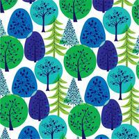 motif d'arbres superposés bleu-vert