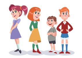 Illustration de jeu de caractères d'enfants vecteur