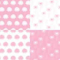 motifs floraux botaniques dessinés à la main blanche et rose vecteur