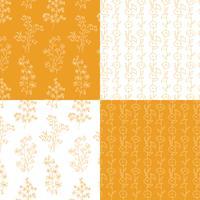 motifs floraux botaniques dessinés à la main orange et blanc vecteur