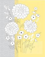 placement graphique vectoriel floral gris jaune