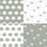 motifs floraux botaniques dessinés à la main blanche et grise vecteur
