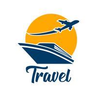 logo de tourisme voyage isolé sur fond blanc vecteur