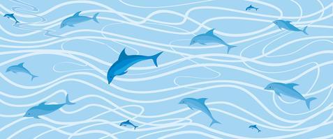 motif de dauphin. Fond de la vie marine sous-marine vecteur
