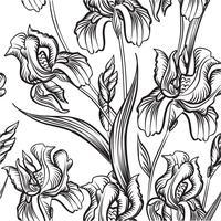Motif floral gravé sans soudure. Fond de jardin de fleurs
