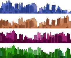 Silhouettes de ville de différentes couleurs sur blanc vecteur