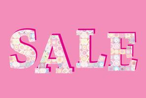 Bannière de vente. Grand signe de vente d'été sur fond rose