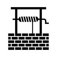 puits d'eau glyphe noir icône