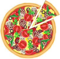 pizza et illustration vectorielle morceau coupé