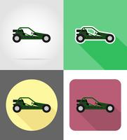 VTT voiture buggy hors routes plates icônes vector illustration