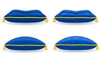 oreiller de velours satin bleu avec illustration vectorielle de corde et glands or