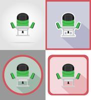 outils de moulin électrique pour la construction et la réparation des icônes plats vector illustration