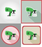 outils aérographe électriques pour la construction et la réparation des icônes plats vector illustration