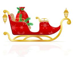 traîneau de Noël rouge du père Noël avec cadeaux vector illustration