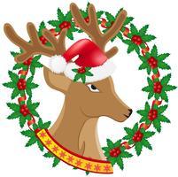 Couronne de cerf de Noël de baies de houx vector illustration
