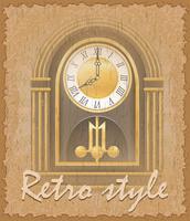 illustration vectorielle de style rétro affiche ancienne horloge