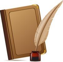 livre et plume avec encres vecteur