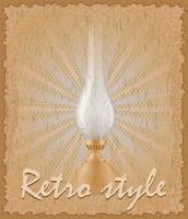 affiche de style rétro ancienne illustration vectorielle de lampe au kérosène