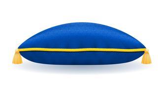 oreiller de velours bleu avec illustration vectorielle de corde et glands or