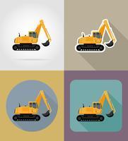 excavatrice pour travaux routiers icônes plats vector illustration