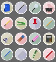 matériel de papeterie mis icônes plats vector illustration