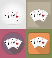 cartes à jouer pour casino icônes plates vector illustration