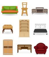 définir des icônes illustration vectorielle de meubles