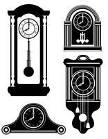 horloge vieux rétro icône vintage vector stock illustration contour noir silhouette