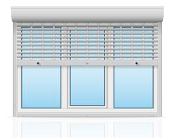 fenêtre en plastique derrière métal perforé volets roulants illustration vectorielle