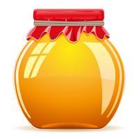 miel dans le pot avec une illustration vectorielle de couverture rouge
