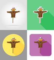 épouvantail paille dans un manteau et chapeau icônes plates vector illustration
