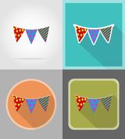 drapeaux pour les icônes plat de célébration vector illustration