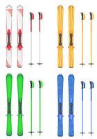 set d'icônes skis illustration vectorielle de montagne