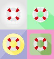 bouée de sauvetage icônes plats vector illustration