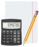 morceau de calculatrice de papier et crayon vector illustration