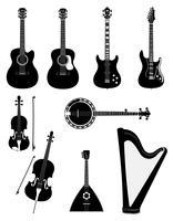 Instruments de musique à cordes contour noir silhouette illustration vectorielle stock