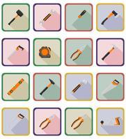 réparation et outils de construction icônes plats vector illustration