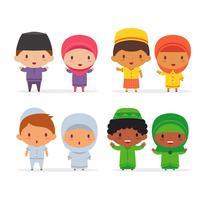 Enfants musulmans de dessin animé vecteur