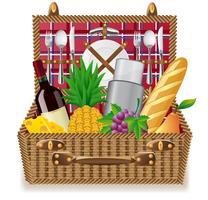 panier pour un pique-nique avec vaisselle et aliments vecteur