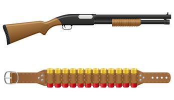 fusil de chasse et obus en illustration vectorielle bandoliers