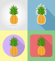 fruits ananas plat icônes définies avec l'illustration vectorielle ombre