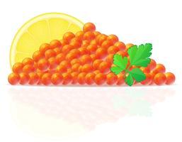 caviar rouge avec illustration vectorielle citron et persil