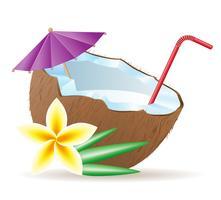 cocktail d'illustration vectorielle de noix de coco vecteur