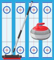 jeu de curling vecteur