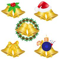 cloches de Noël mis icônes illustration vectorielle